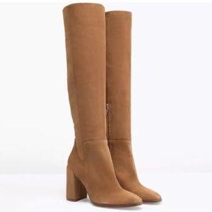 Zara brown suede knee high heeled boots
